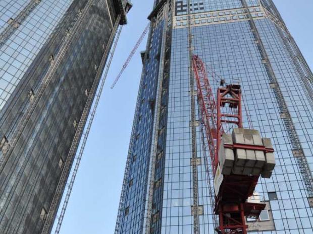 Ansicht Deutsche Bank AG Frankfurt/M. - Türme im Bauzustand